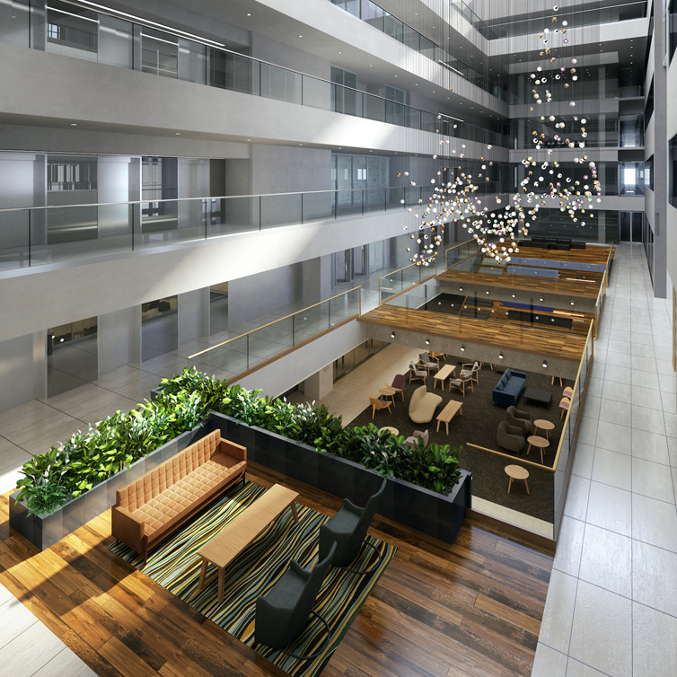 An arial view of the atrium inside of Franklin Partner's The Shuman